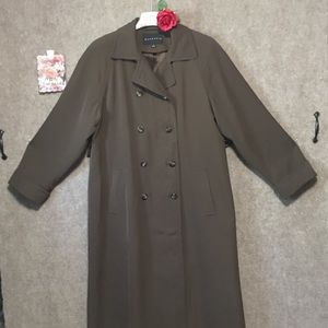 VTG.GALLERY SZ 8 DOUBLE-BREASTED TRENCH COAT GREEN